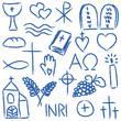 Religious chalky symbols
