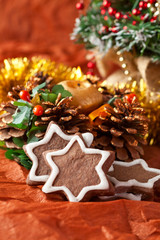 chocolate Christmas cookies and Christmas decorations