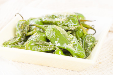 Padron Peppers - Fried green peppers with sea salt. Tapas!