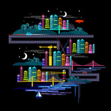 Urban City at Night - Vector illustration