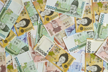 Korean won currency bills