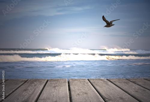 Fotobehang Een Hoekje om te Dromen gabiota en el mar