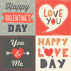 Cute hipster typographic Valentine's Day cards
