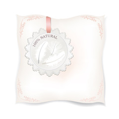 White pillow close up isolated. Feather Natural product label.