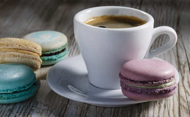 macaroon and a cup of coffee