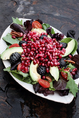 Pomegranate, Avocado and Blackberrry Salad