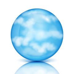 blue sphere with white clouds.eco design.sky in a glass bowl.vec
