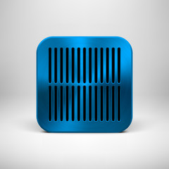 Blue Abstract App Icon Template with Metal Texture