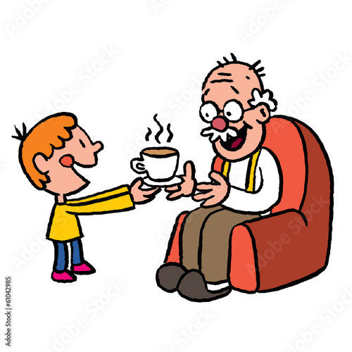 grandson bringing tea to grandpa