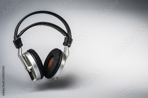 big wireless headphones on white background