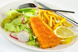 Fish and chips portion on plate with fork and knife