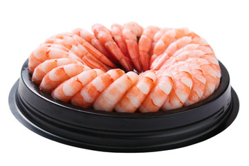 Ring of peeled prawns with tails , isolated