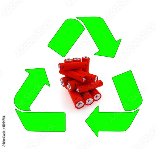 Recycling and renewable energy sources, red aa bateries