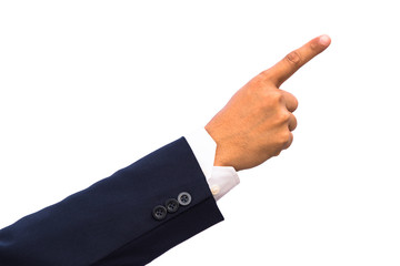isolated hand pointing to something with clipping path