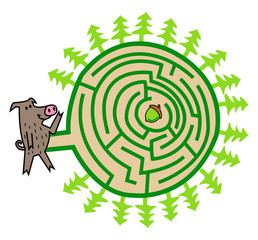 Wild Boar And Acorn Maze Game