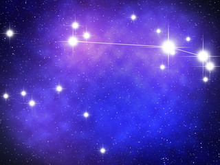 Aries Zodiac sign bright stars in cosmos