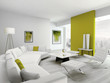 Modern green and white colored living room interior