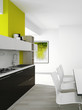 Modern green colored kitchen interior