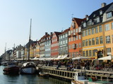 Historic boats moored along Nyhavn Quayside, Copenhagen