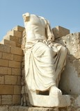 Ancient  sculpture of Caesar. Caesarea. Israel