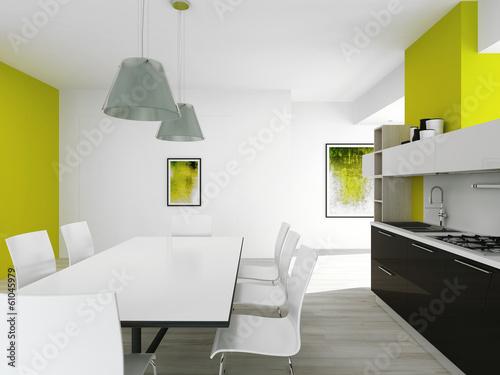 Modern green colored kitchen interior