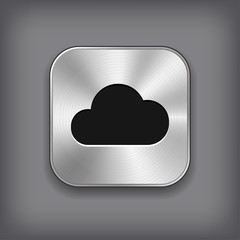 Cloud icon - vector metal app button