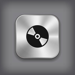 CD or DVD disc icon - vector metal app button