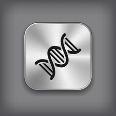 DNA icon - vector metal app button