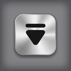 Down arrow icon - vector metal app button