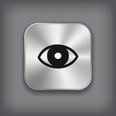 Eye icon - vector metal app button