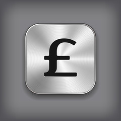Pound icon - vector metal app button