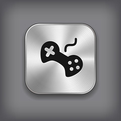 Video game icon - vector metal app button