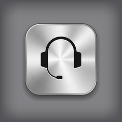 Headphones icon - vector metal app button
