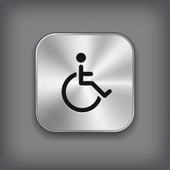 Disabled icon - vector metal app button