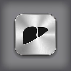 Liver icon - vector metal app button