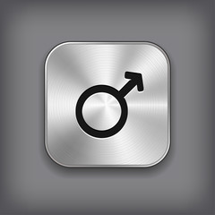 Male icon - vector metal app button