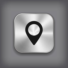 Map pointer icon - vector metal app button