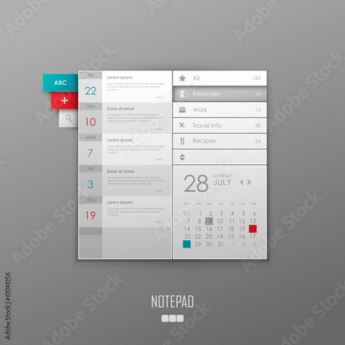 Vector notepad template design