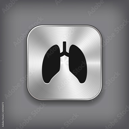 Lungs icon - vector metal app button