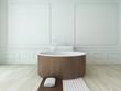Wooden round bathtub against white wall