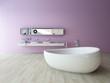 White bathtub against violet wall