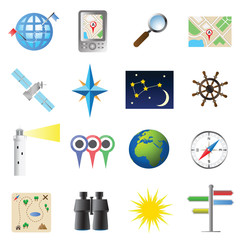 Navigation icon set flat color