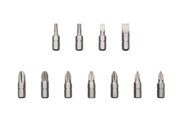 A set of various screwdriver bits isolated on white background