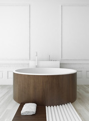 Wooden round bathtub against white wall