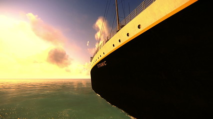 Full view of the ship Titanic