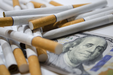 Cigarettes with dollar