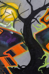 Colorful murals of the halloween atmosphere