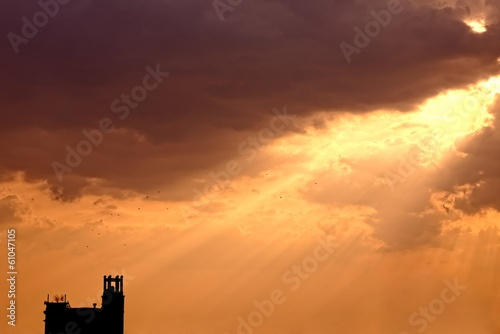 Artistic sunset with bright sky and clouds