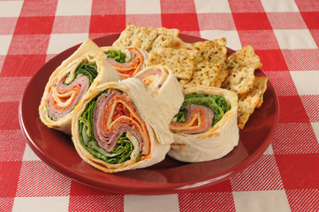 Wrap sandwich wiht Italian meats and cheeses