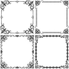 Black and white vintage vector frames design